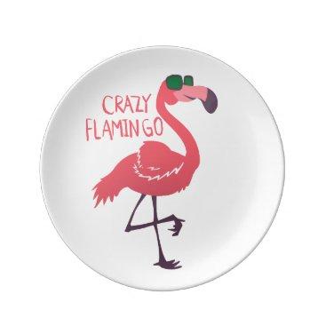 Beach Themed Crazy flamingo plate