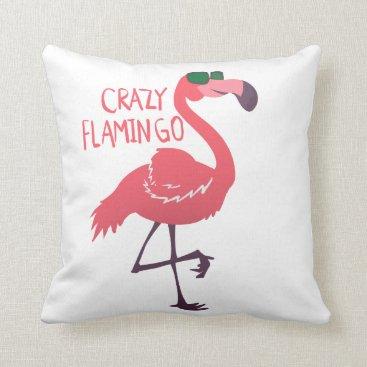Beach Themed Crazy flamingo throw pillow