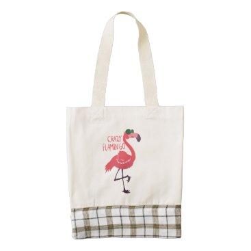 Beach Themed Crazy flamingo zazzle HEART tote bag