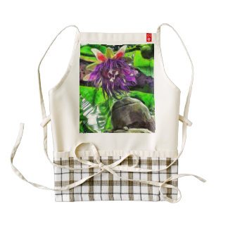 Crazy flower and plants zazzle HEART apron
