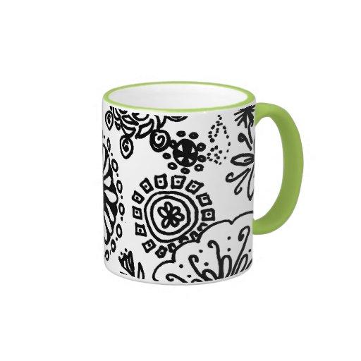 Crazy Flower Drawing Ringer Coffee Mug