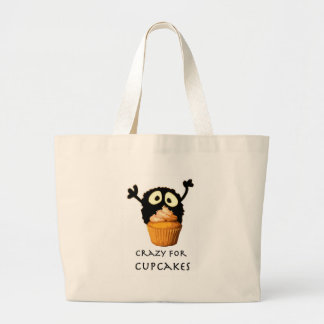 Crazy for cupcakes large tote bag