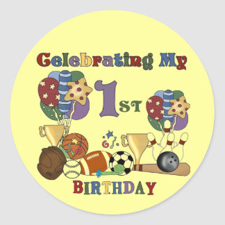 Crazy For Sports 1st Birthday Tshirts and Gifts Classic Round Sticker