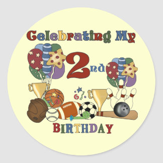 Crazy For Sports 2nd Birthday T-shirts and Gifts Classic Round Sticker