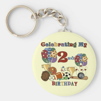 Crazy For Sports 2nd Birthday T-shirts and Gifts Keychain