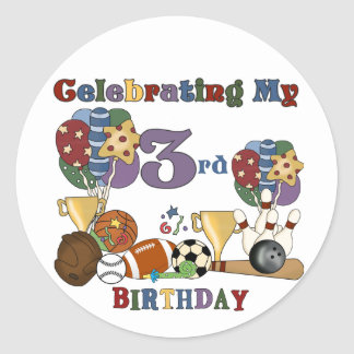 Crazy For Sports 3rd Birthday Tshirts and Gifts Classic Round Sticker