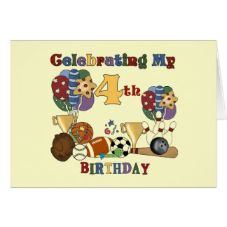 Crazy For Sports 4th Birthday T-shirts and Gifts Card