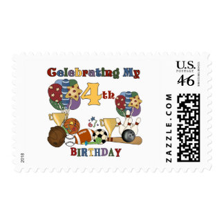 Crazy For Sports 4th Birthday T-shirts and Gifts Stamp