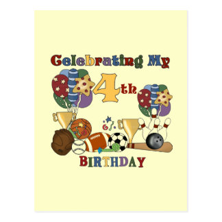 Crazy For Sports 4th Birthday T-shirts and Gifts Postcard