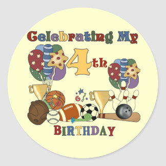 Crazy For Sports 4th Birthday T-shirts and Gifts Classic Round Sticker
