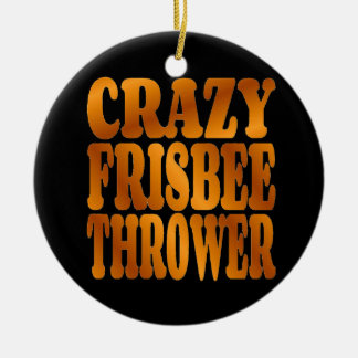 Crazy Frisbee Thrower in Gold Ceramic Ornament