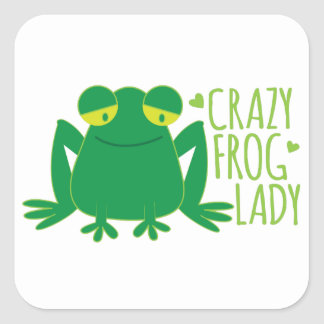 crazy frog lady square sticker