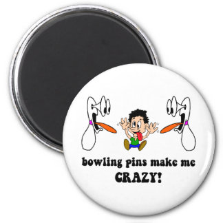 Crazy funny bowling 2 inch round magnet