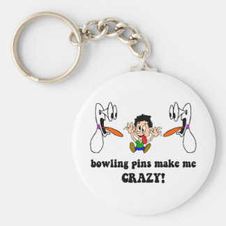 Crazy funny bowling basic round button keychain