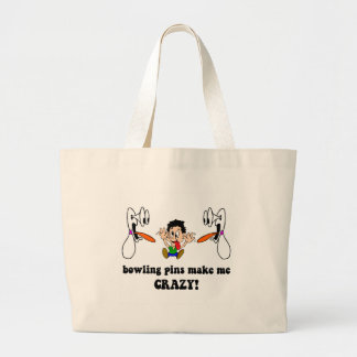 Crazy funny bowling large tote bag