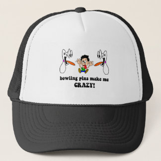 Crazy funny bowling trucker hat