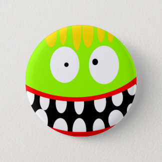 crazy funny monster button