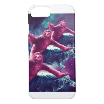 Crazy Funny Space Sloth Riding On Turtle iPhone 8/7 Case