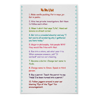 Crazy Funny Wacky Must Do Pranks To Do List Poster at Zazzle