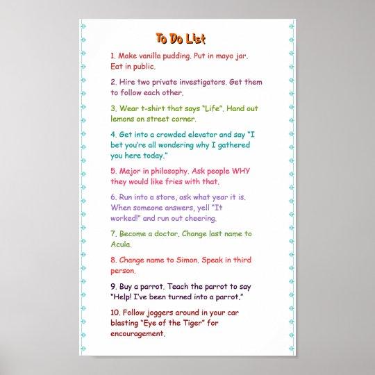 crazy funny wacky must do pranks to do list poster zazzle com