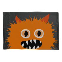 Crazy Furry Cute Orange Monster Kids Pillowcase