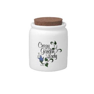 Crazy Garden Lady Candy Jar
