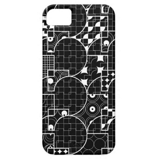 Crazy Geek Geometric white pattern on Black iPhone 5 Cases