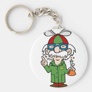 Crazy Genius Scientist Basic Round Button Keychain