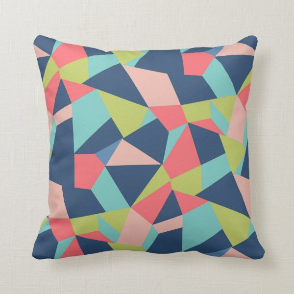 Crazy geo shapes in blue, salmon and green throw pillow