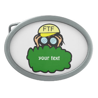 Crazy Geocacher in the Bushes Geocaching Oval Belt Buckle