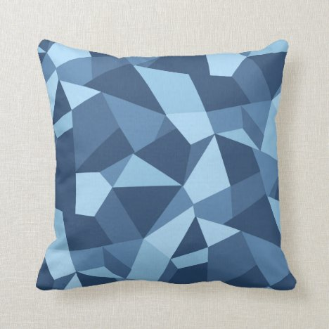 Crazy geometric cushion design in blue tones