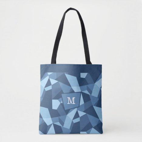 Crazy geometric shapes in blue tones monogram tote bag