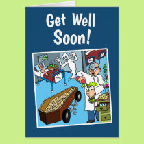 Crazy Get Well Soon Card w/white envelope
