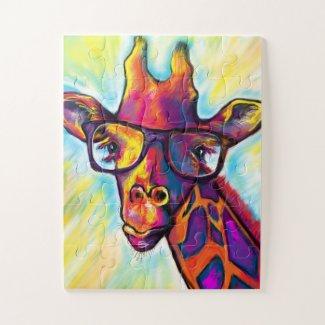 Crazy Giraffe Man Art Puzzle