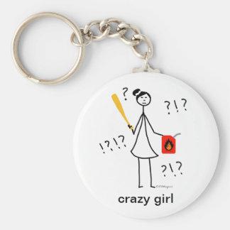 Crazy Girl Basic Round Button Keychain