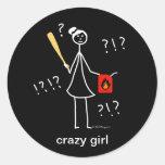 Crazy Girl Classic Round Sticker