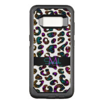Crazy Glitter Leopard Animal Print Monogram OtterBox Commuter Samsung Galaxy S8 Case