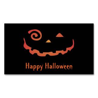 Crazy Glowing Halloween Pumpkin Magnetic Business Card