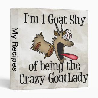 Crazy Goat Lady GetYerGoat 3 Ring Binder