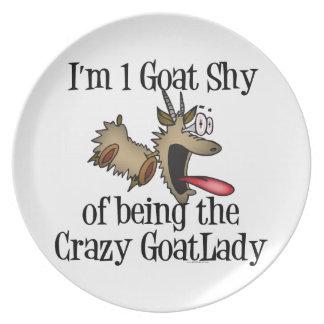 Crazy Goat Lady GetYerGoat Melamine Plate