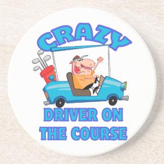 crazy golf cart driver golfing humor coasters
