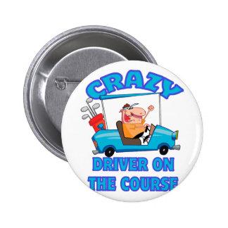 crazy golf cart driver golfing humor pinback button