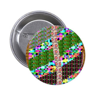 CRAZY Graphic Wave Patchwork Art GIFTS n Greetings Pinback Button