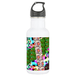 CRAZY Graphic Wave Patchwork Art n Greetings Stainless Steel Water Bottle