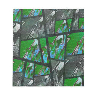 Crazy Green Black Abstract Texture Notepad