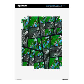 Crazy Green Black Abstract Texture Skin For iPad 3