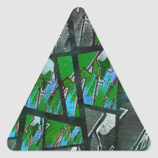 Crazy Green Black Abstract Texture Triangle Sticker