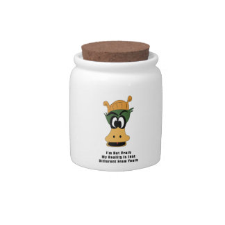 Crazy Green Cartoon Duck Different Reality Candy Jar