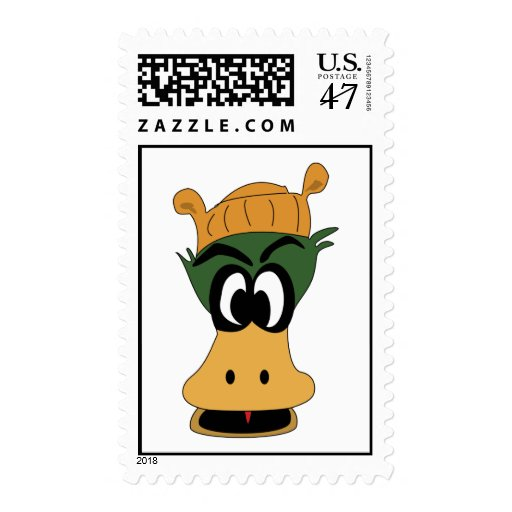 Crazy Green Cartoon Duck Different Reality Postage Stamp