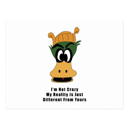 Crazy Green Cartoon Duck Different Reality Postcard
